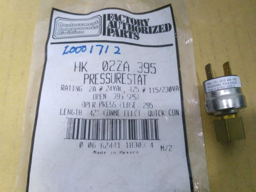 "I001712 * HI-PRESSURE SWITCH Rating 2A @24VAC, 125 @115/230VA (Open:395psi, Close:295psi) Length:42"" conn elec: quick conn."
